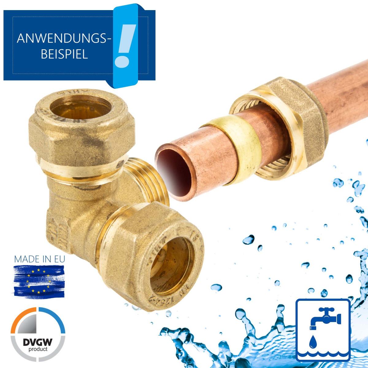 MS-Klemmringverbinder für Kupferrohr Eck-T-Stück Verschraubung DVGW